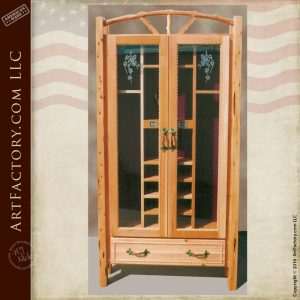 Custom Wood Pool Cue Cabinet