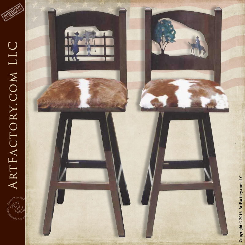 Hand Forged Western Bar Stools Authentic Hair On Hide