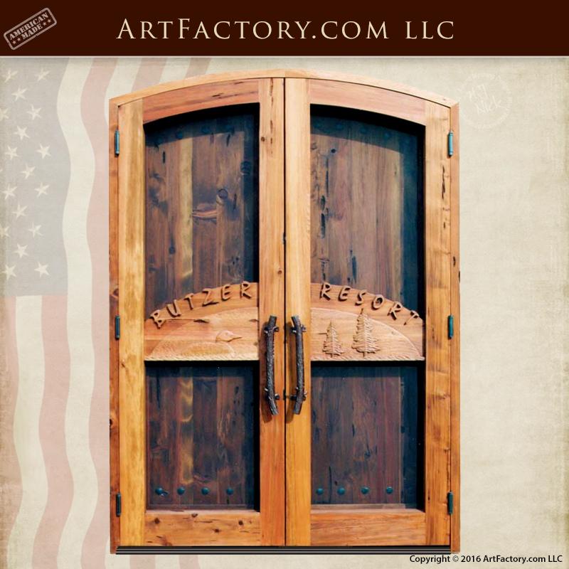 Handmade Solid Wood Island Units: Custom Branded Resort Doors: Handmade Solid Wood Entrance