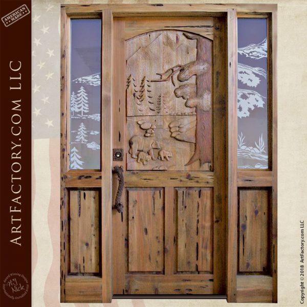 custom. bears carved door