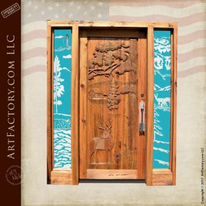 custom carved cabin entrance door with custom arrow door pull