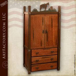 custom western style armoire matching piece to western style wagon wheel bed