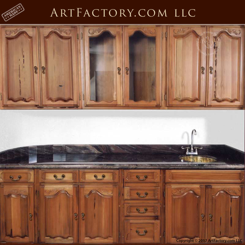 Custom Wooden Kitchen Cabinets: Hand Carved With Wet Bar