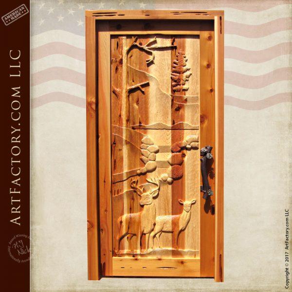 deer carved front door