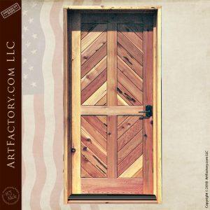 diagonal planked entrance door