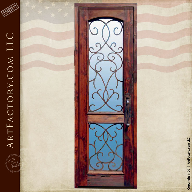 custom dual lite wood door with hand forged security grill