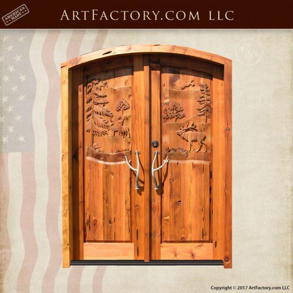 hand carved cabin doors