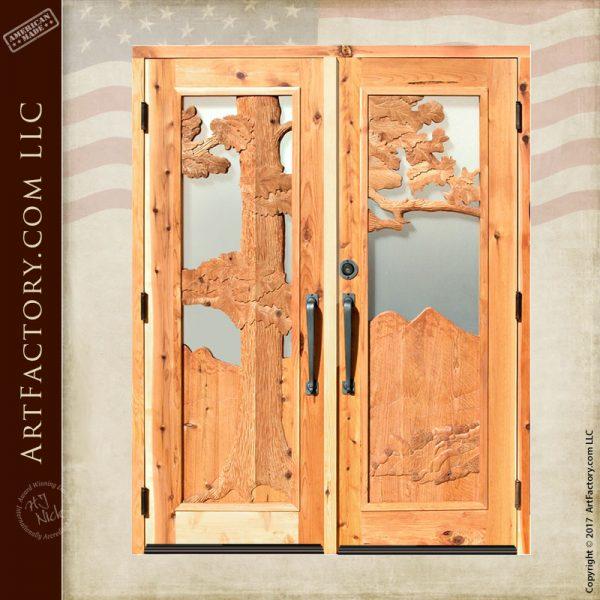 tree themed double doors