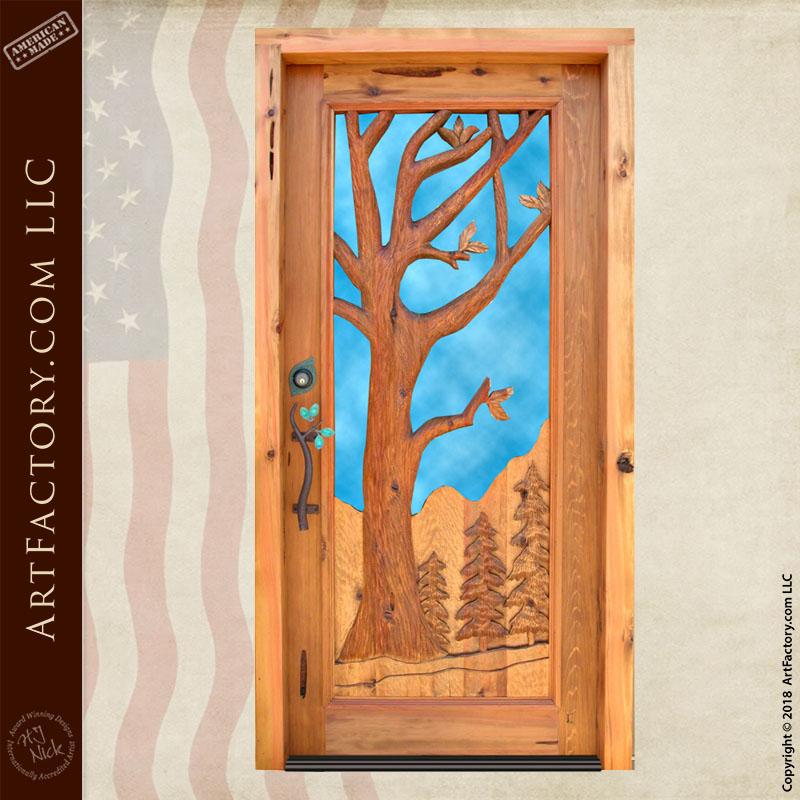 oak tree carved door