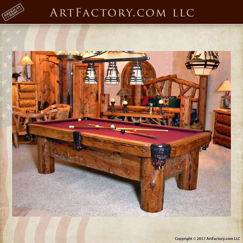 Silverton Train hand carved pool table