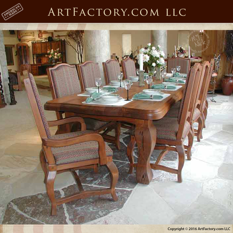 French Dining Room Table: Elegant French Dining Room Table: Handmade Solid Wood
