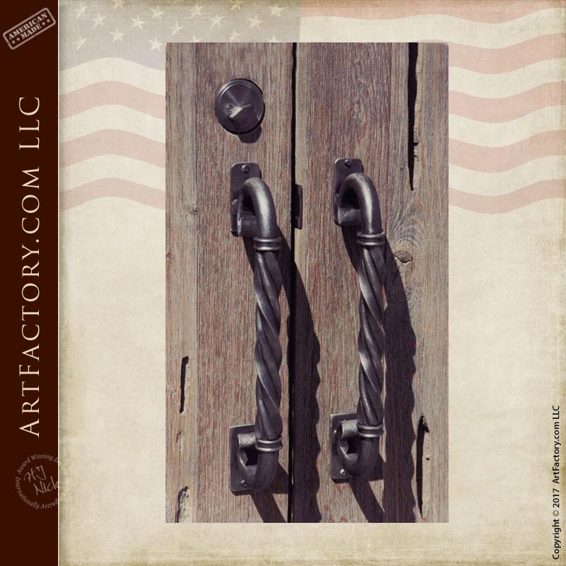 twisted iron door pulls