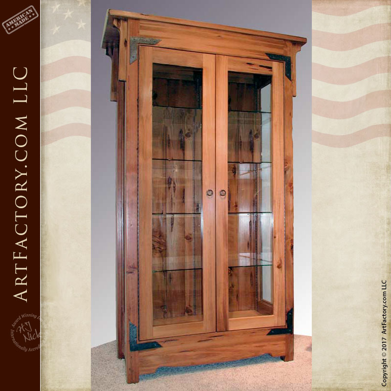 Custom display cabinet solid wood with tempered glass hand built - Custom display cabinets ...