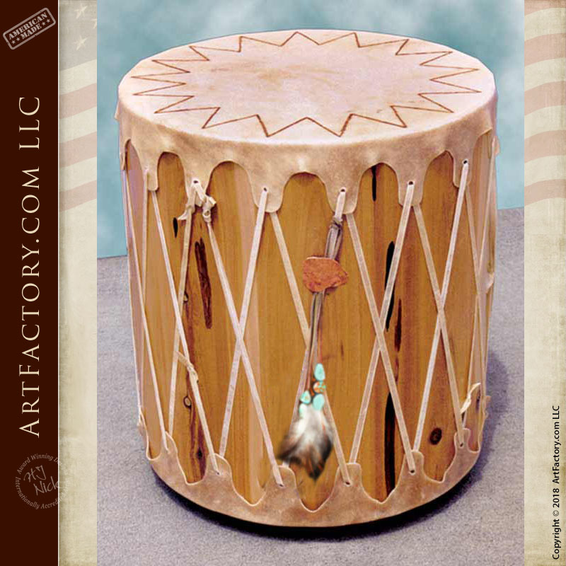 Native American Drum End Table Historically Inspired Custom Designs Swlt136a