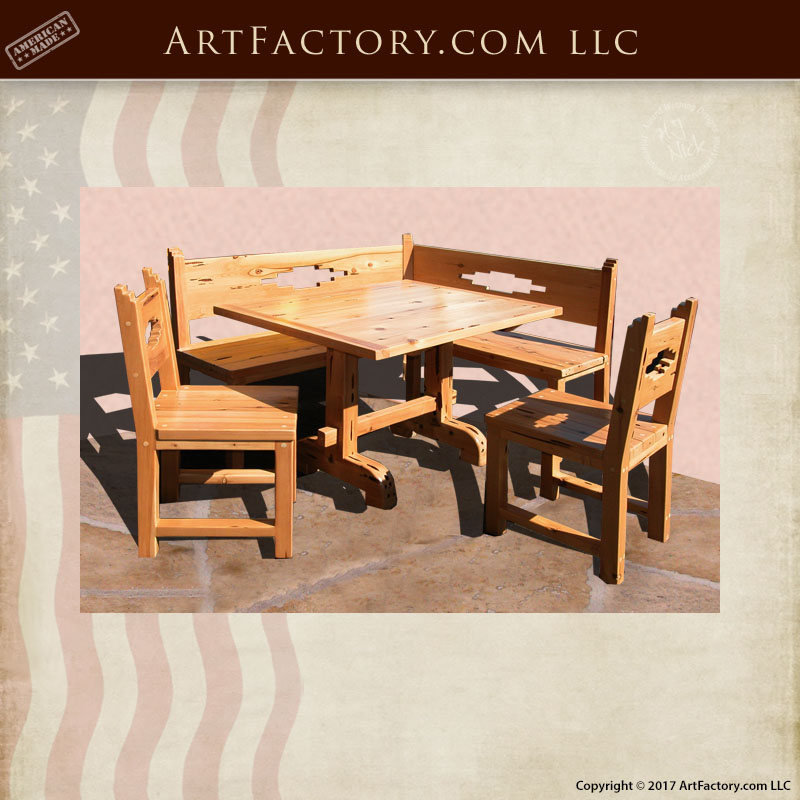 Custom Wooden Corner Booth Table Arts And Crafts Movement Inspired