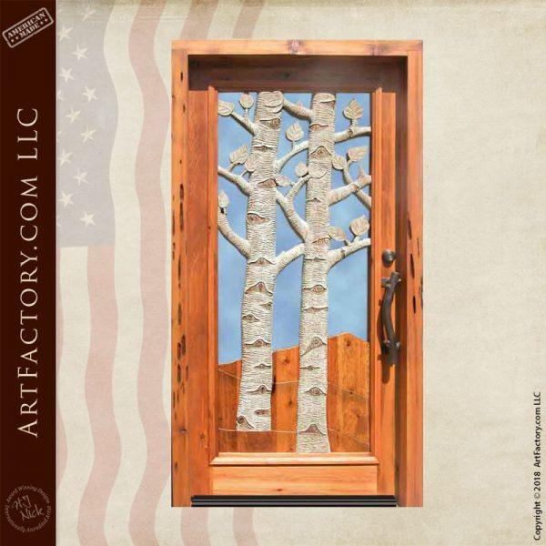 aspen trees carved door