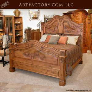 French equestrian hand carved bed