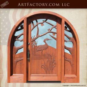 heron hand carved front door