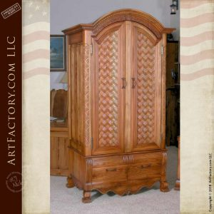 basket weave design French style armoire