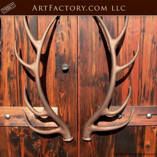 Elk Antler Door Pulls Custom Hand Forged Wrought Iron