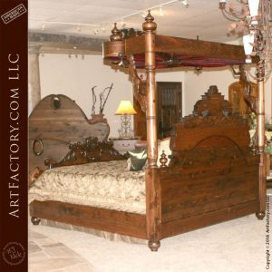 gothic carved canopy bed back