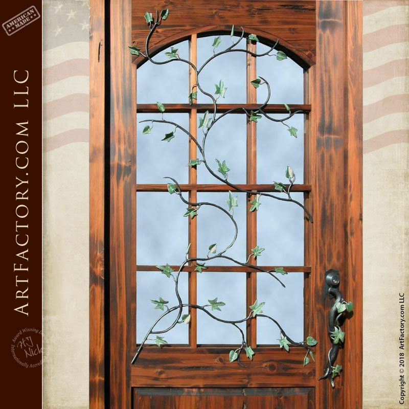 Custom French Pane Glass Front Door Handcrafted Solid Wood Entraces
