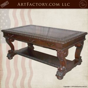 carved wooden writing table
