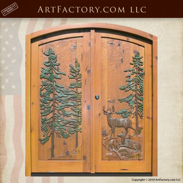 American Wilderness hand carved door