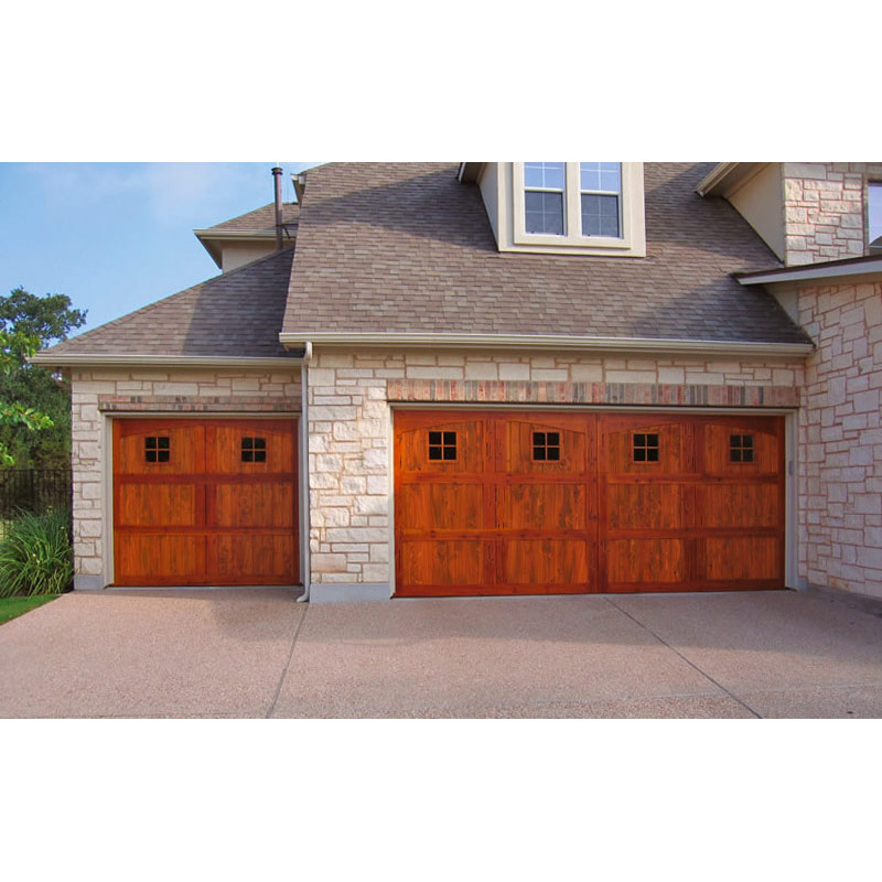 Garage doors craftsman style solid wood for Craftsman style garage lights