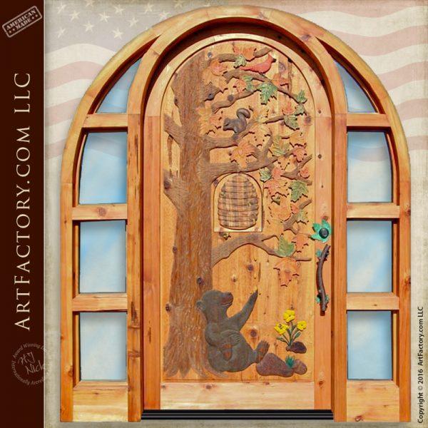 Honey Bear Hand Carved Door