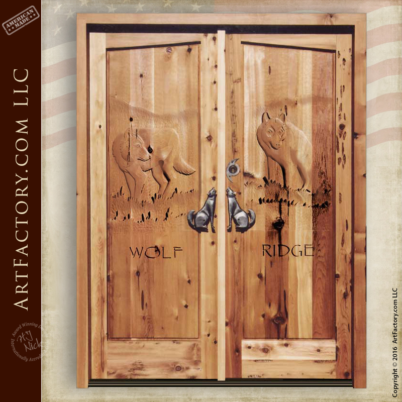 Wolf Carved Front Door: Custom Themed Hand Carvings U2013 6020HC