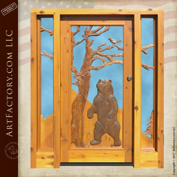 grizzly bear hand carved door