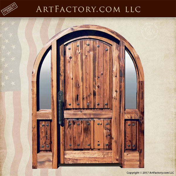 Solid Wood Arched Entry Door With Custom Hardware And