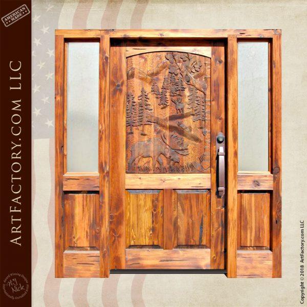 moose carved grand entrance