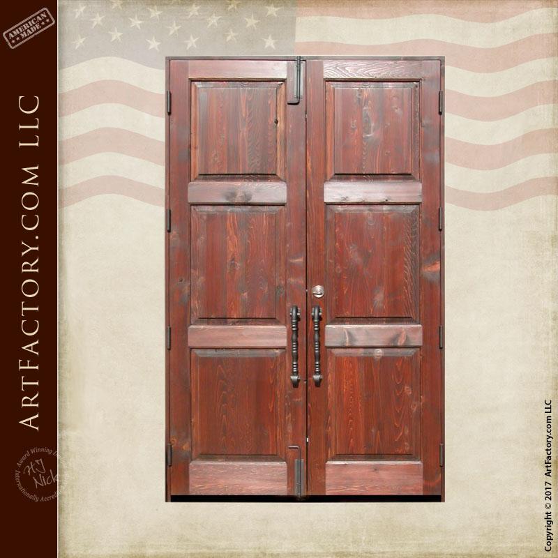 rustic wooden double doors