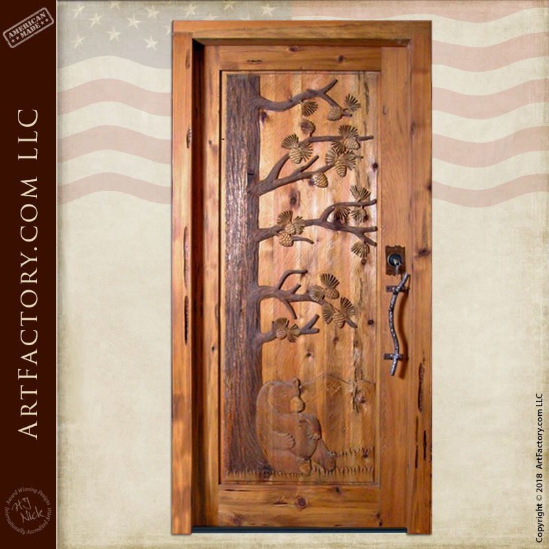 custom bear hand carved door