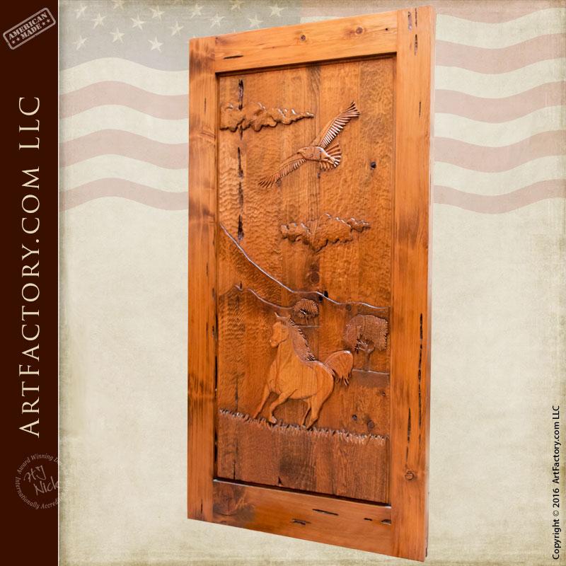Hand Carved Door Western Horse Amp Eagle Design
