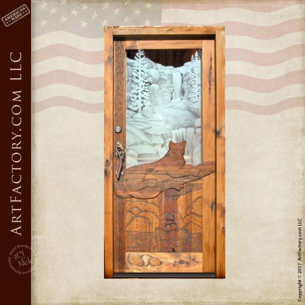 cougar hand carved door