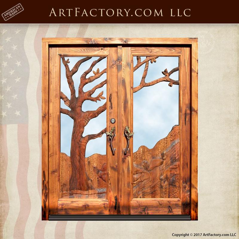 mountain oak hand carved entrance