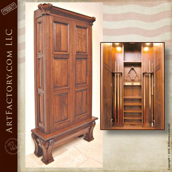 Solid Walnut Cue Cabinet