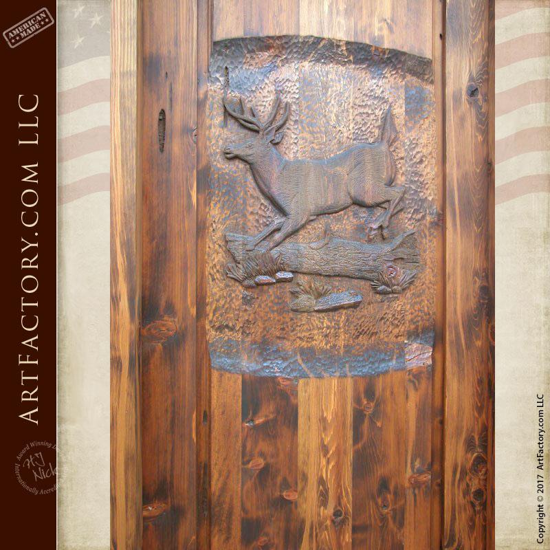 hand carved deer wooden door