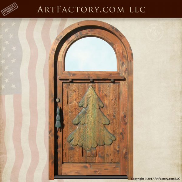 Thomas Kincade Cottage Inspired Door: Hand Carved Christmas Tree