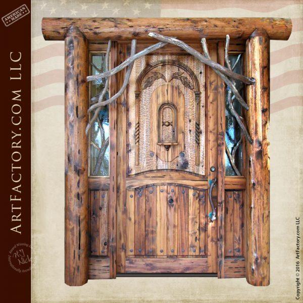Rustic Log Cabin Door