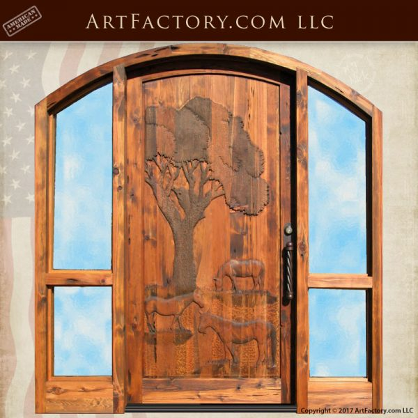horse hand carved front door