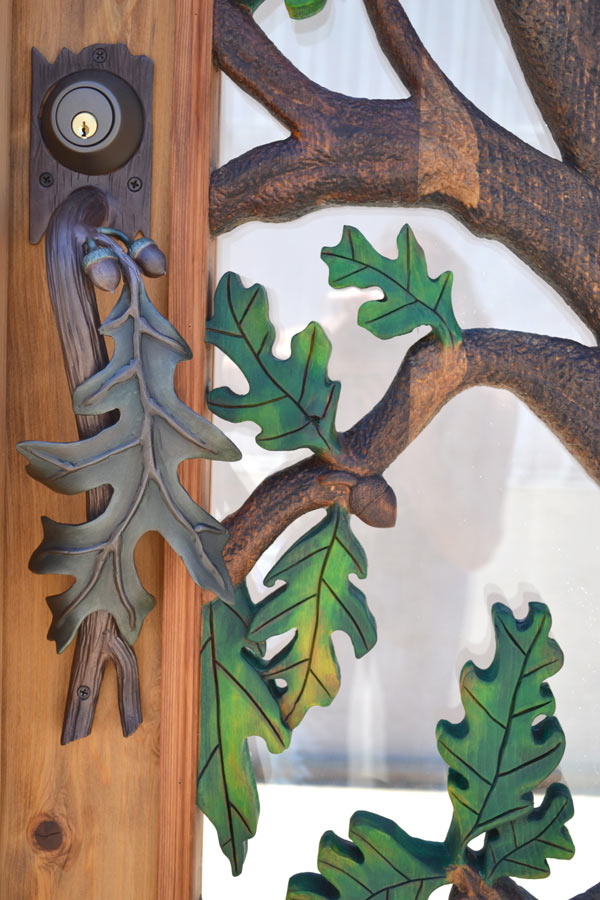 Carved Wood Doors Oak Tree Design Solid Wood Glass Doors