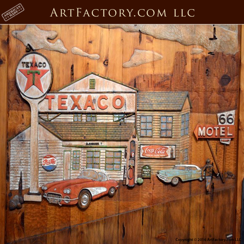 Grand Route 66 Carved Door Custom Forged Iron Hardware