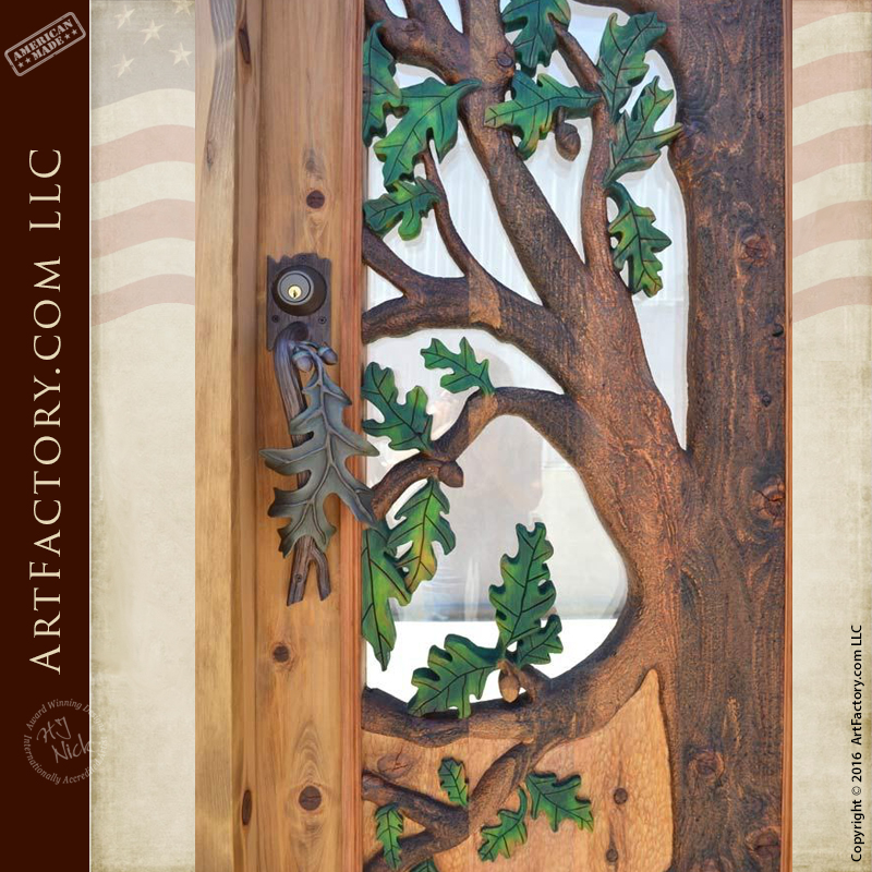 Hand Carved Oak Tree Door Hand Forged Oak Leaf Hardware
