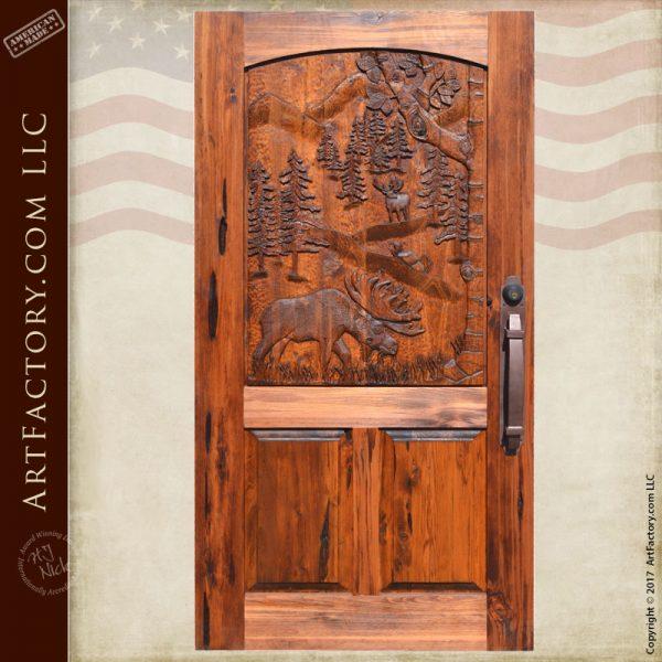 moose theme carved door
