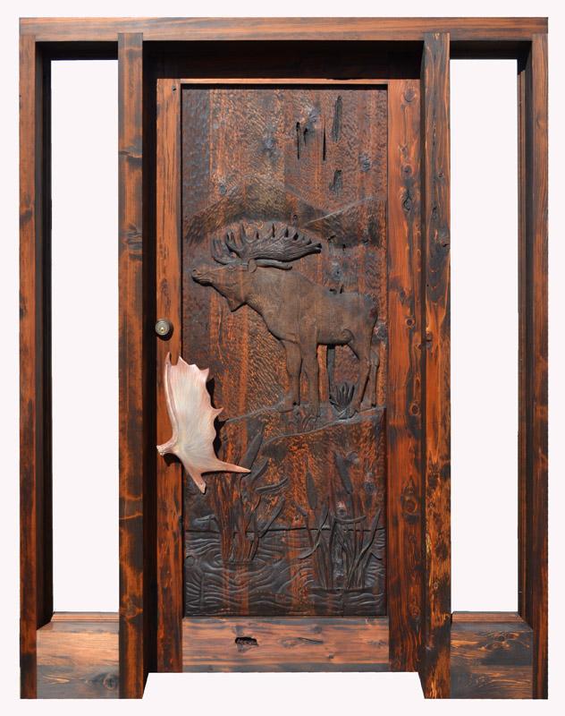 Log Cabin Doors Hand Carved Moose Custom Lodge