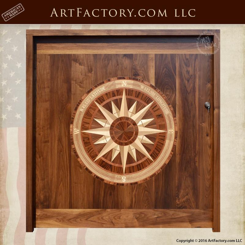 Nautical Compass Entrance Door Marquetry Inlay Custom